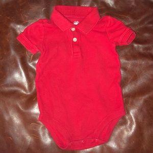 Sz 18m red short sleeve polo onesie